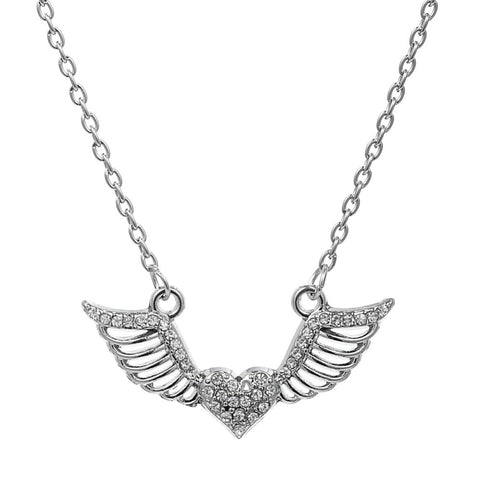 trendy crystal angel wings heart pendant necklace for women