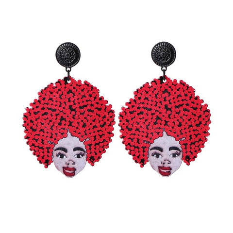 trendy printed afro figure wooden big earrings for women