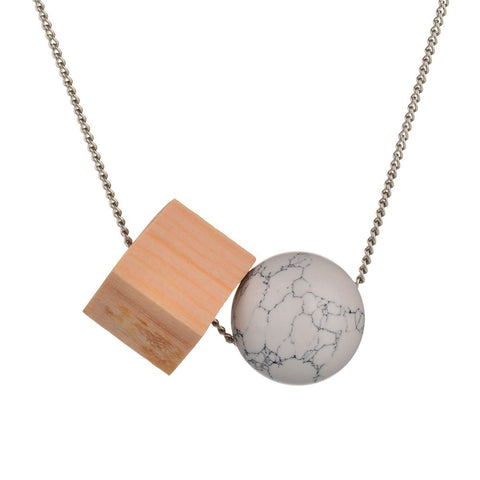 trendy round stone square wood necklaces & pendant for women