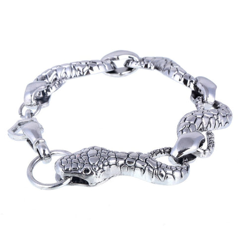 punk style tibetan silver chain snake shape bracelet for men
