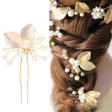 romantic golden leaf with rhinestone & pearls hair pin