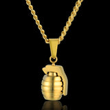hip hop style gold color grenade pendant necklace for men