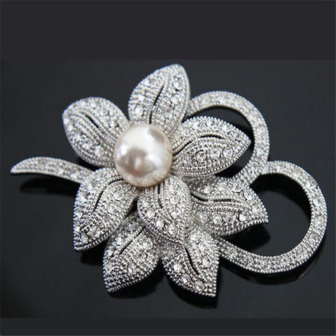 luxury flower crystal & imitation pearl brooch pin for women