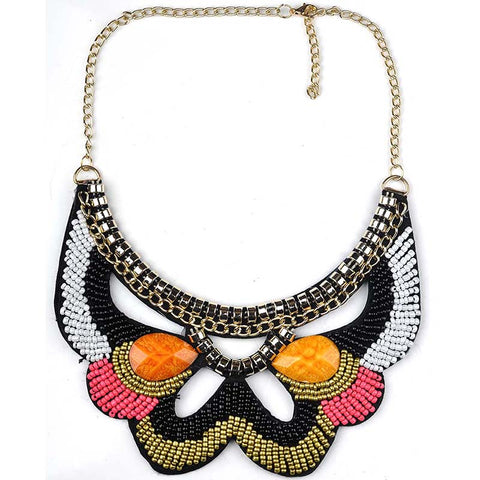 multicolor beads bohemia statement necklace for women