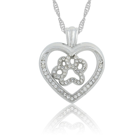 cat paw print crystal heart water wave chain necklace for women