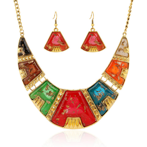 vintage mosaic stone necklace & earrings set for women