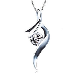 sterling silver & zircon spiral pendant necklace for women