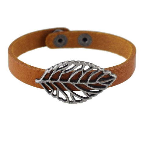 punk style pu leather silver color leaf wrap bracelet