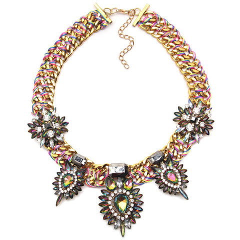 big crystal flower statement necklace & pendant for women