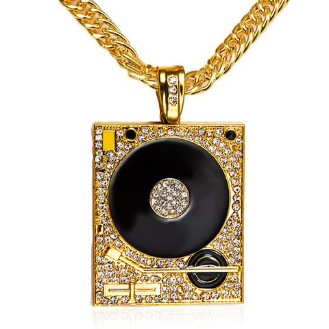 hip hop style dj phonograph crystal pendant necklace for men
