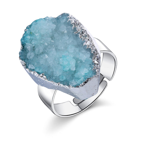 silver plated natural stone ring for women