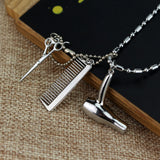 silver hair dryer/scissor/comb dangle pendant necklace
