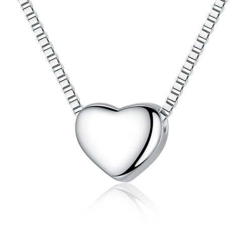 sterling silver shiny heart necklace & pendant for women
