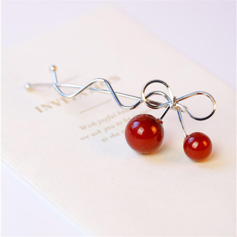 trendy red cherry shaped bowknot twist hair clip for women