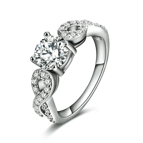 luxury white gold color zircon crystal stone ring for women