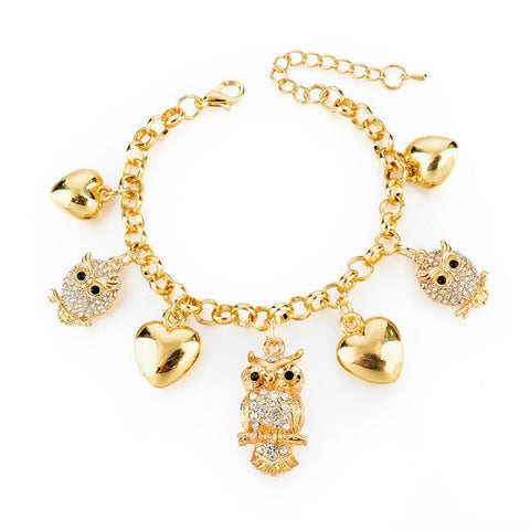 gold color crystal chain charm bracelet & bangle for women