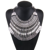 vintage crystal choker coin necklace & pendant - very-popular-jewelry.com