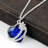 blue crystal heart of ocean pendant necklace