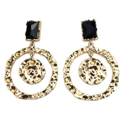 trendy rough surfaces metal & crystal round earrings for women