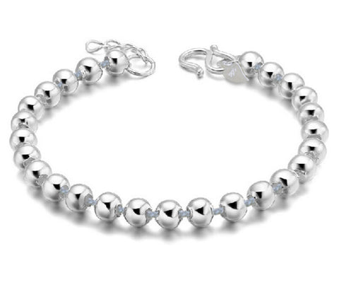 silver plated lucky round prayer beads bracelet& bangle