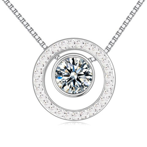 austrian crystal round pendant necklace for women
