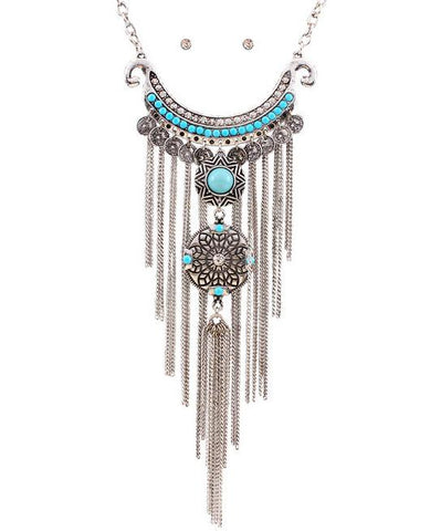 multilayer tassel statement choker necklace for women