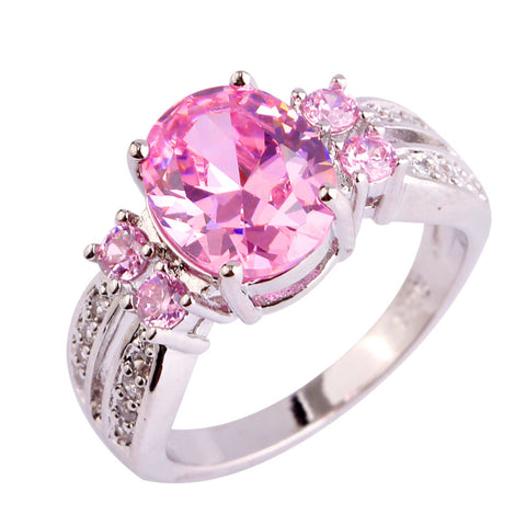 luxury silver color pink & white cz crystal ring for women