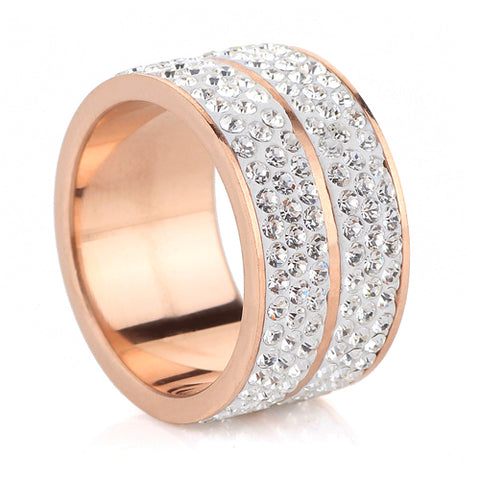rose gold color stainless steel zircon ring for women