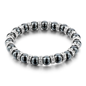 tibetan silver color black stone strand bracelet for men