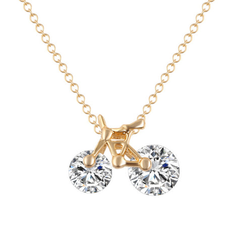 bicycle crystal zircon pendant chain necklace for women