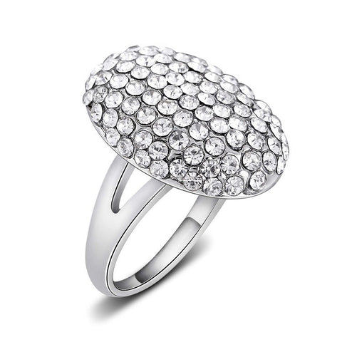 luxury silver color full rhinestone crystal ring for women
