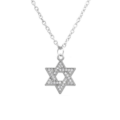 silver plated clear crystal paved star of david pendant necklace
