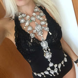sexy bikini body crystal rhinestone pendant necklace