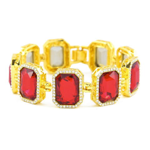 hip hop style iced out square crystal bracelet bangle