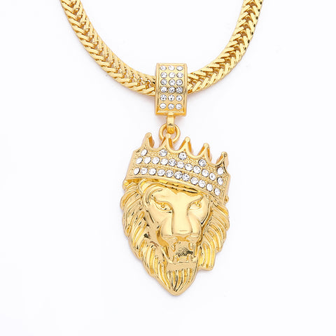 hip hop lion king inlay rhinestone pendant necklace for men