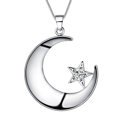 silver moon & star with zircon pendant necklace for woman