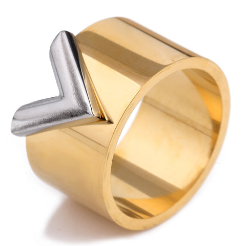 double color titanium steel high polished ring for women