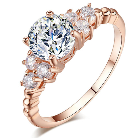 luxury rose gold color cubic zirconia ring for women