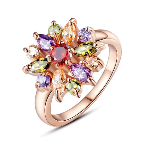 rose gold color colorful cubic zircon flower ring for women