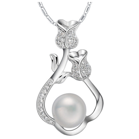 imitation pearl with paved micro cz necklace & pendant