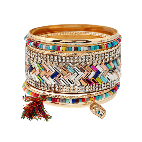 ethnic colorful curved cuff bracelet bangle for women