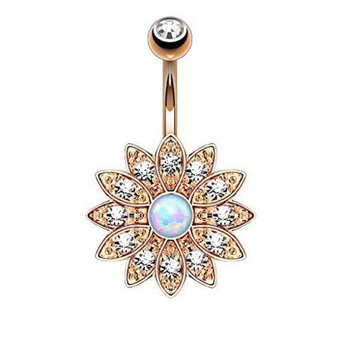 zircon stainless steel flower belly button ring
