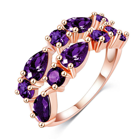 rose gold color colorful zircon ring for women