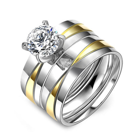 elegant gold & silver color mix with crystal ring for women