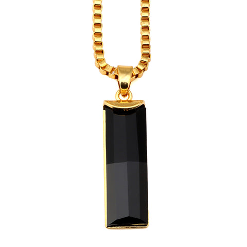 black elongated gem pendant gold chain necklace