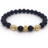 pave cz cube stone bead charm bracelet for men