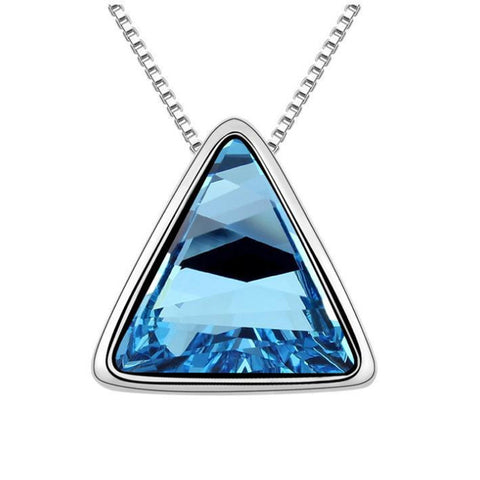 white gold color crystal triangle necklace & pendant