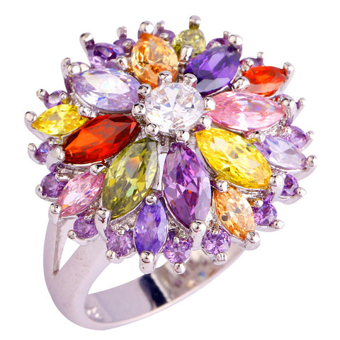 multi color crystal flower silver color ring for women