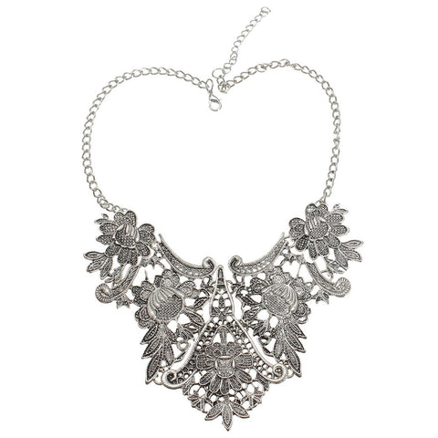 vintage bib statement flower pendant choker necklace