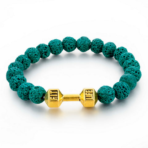 natural stone beaded fit life dumbbell bracelet for men